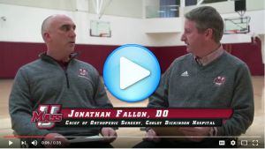 UMass Associate Athletic Trainer David Maclutsky discusses proper stretching and warm-up techniques with Cooley Dickinson Chief Orthopedic Surgeon Dr. Jonathan Fallon.
