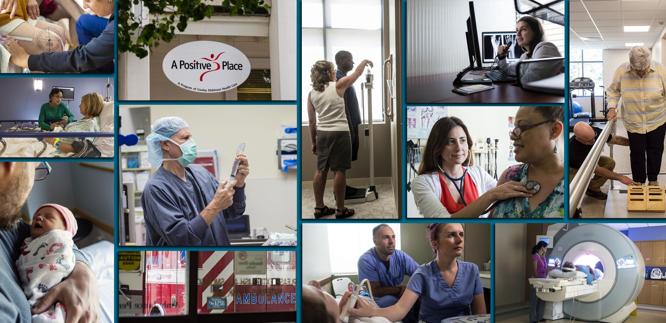 Photo montage showing programs, services, providers, and facilities provided by the Cooley Dickinson Health Care system, Northampton, MA 01060.