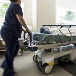 Nurse rushes patient on gurney through corridor at the Emergency Department, Cooley Dickinson Hospital, 30 Locust Street, Northampton, MA 01060.