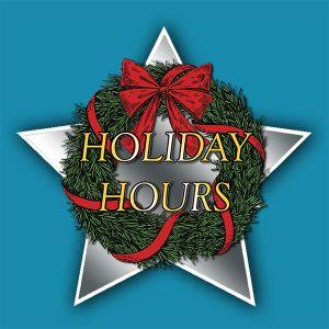 Christmas wreath holiday hours sign, Cooley Dickinson Hospital Urgent Care, 30 Locust Street, Northampton, MA 01060.