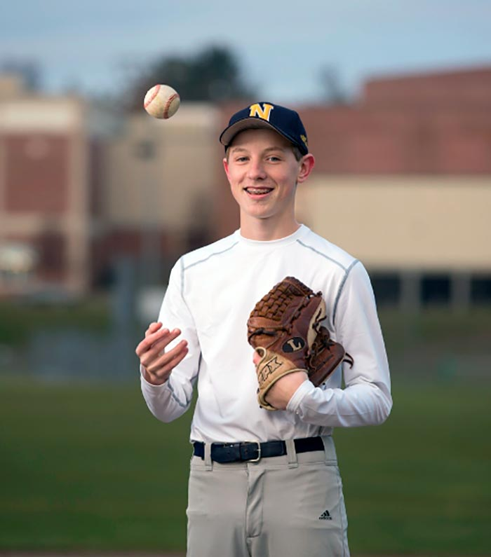 Young male baseball player helped by doctors at Cooley Dickinson Medical Group Orthopedics & Sports Medicine, West Hatfield, MA 01088.