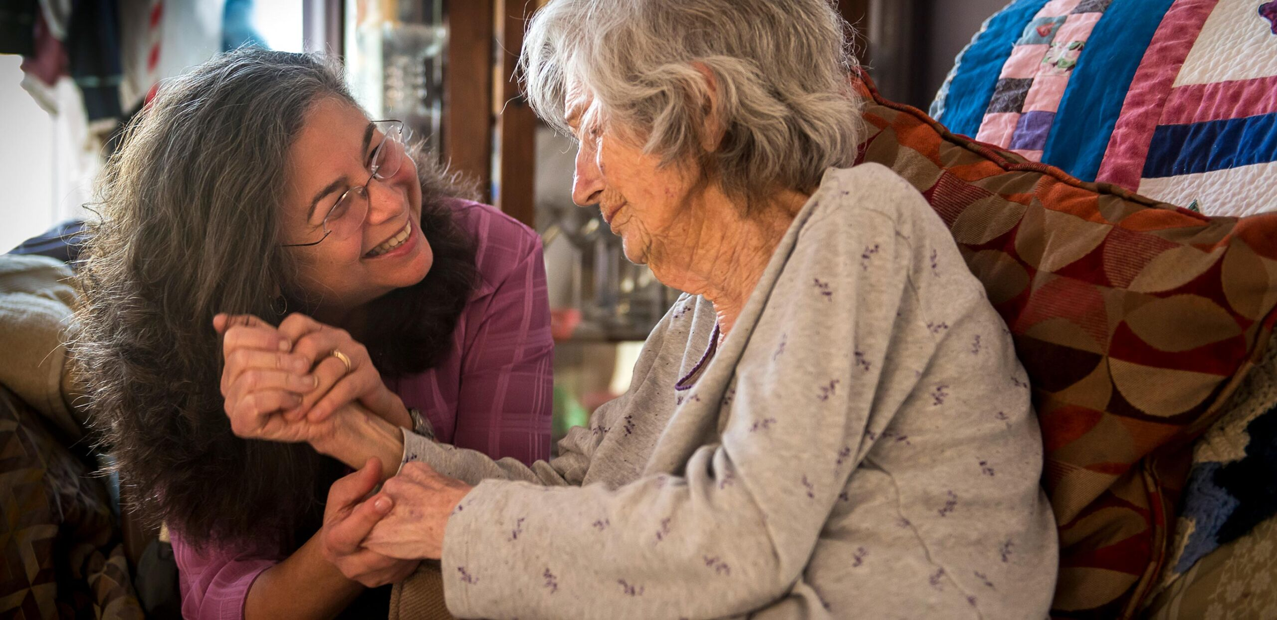 Hospice nurse works with elderly woman in her home, Cooley Dickinson Medical Group VNA & Hospice, Northampton, MA 01060.