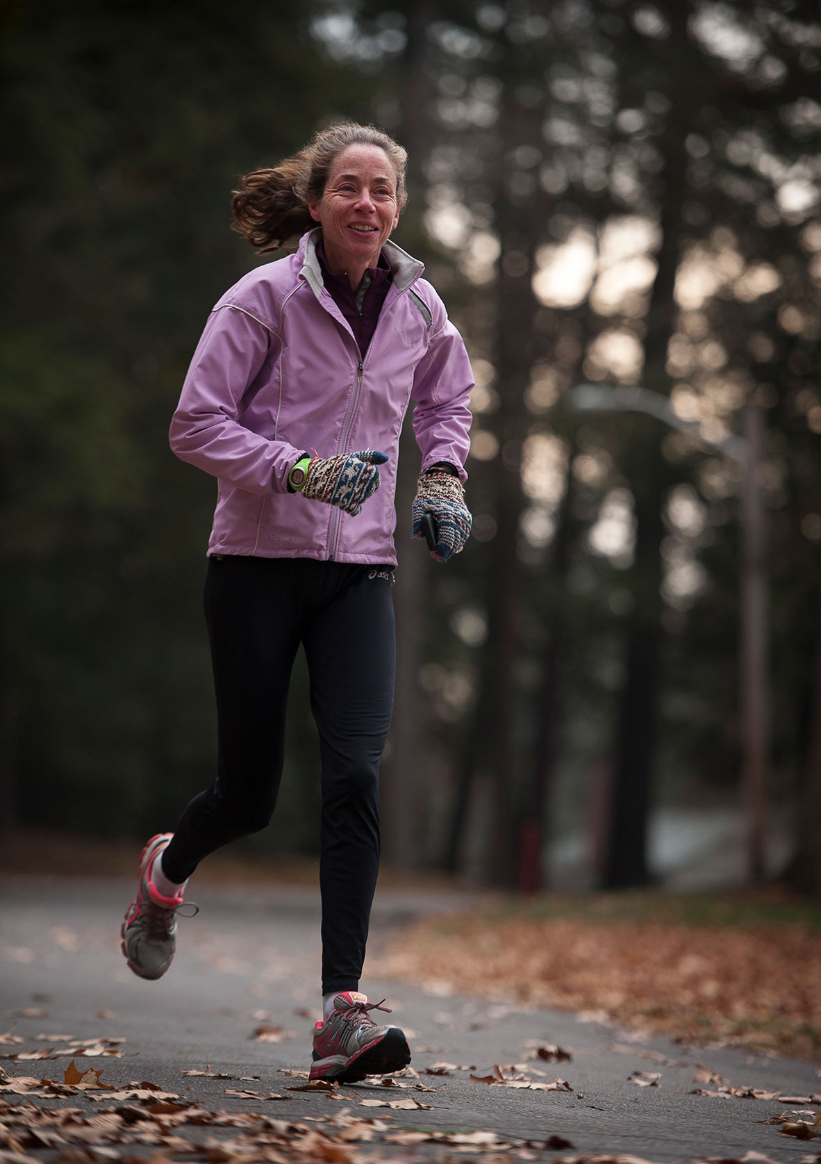 Woman jogging as part of cardiopulmonary rehabilitation program at Cooley Dickinson Hospital, Northampton, MA 01060.
