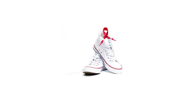 White sneakers with red AIDS awareness ribbon, Dance for Life event, Cooley Dickinson Health Care, Northampton, MA 01060.