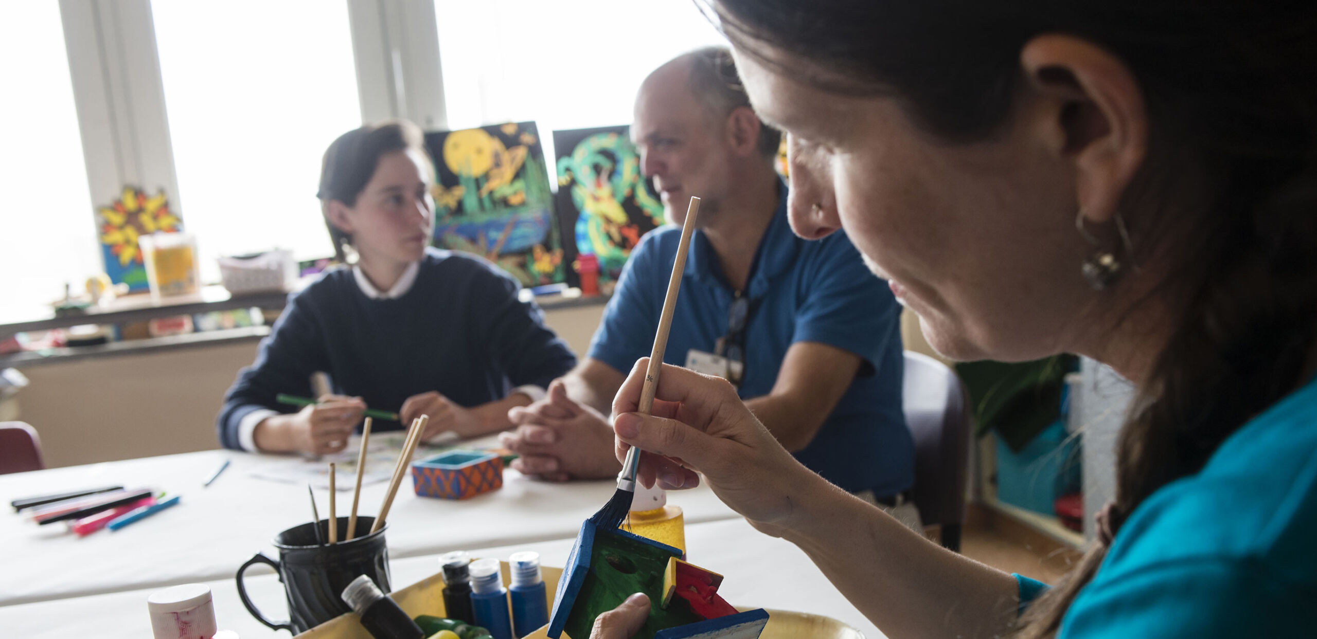 Patients in art therapy session, Cooley Dickinson Inpatient Behavioral Health Unit, Northampton, MA 01060.