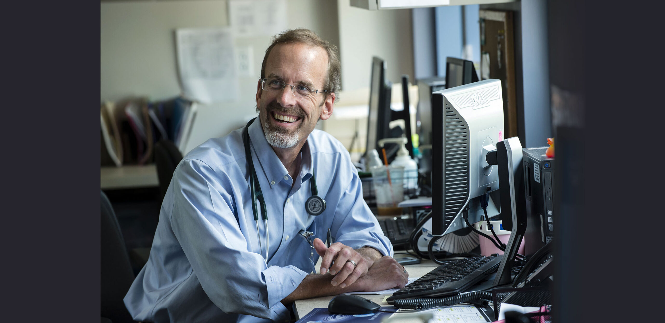 Peter Elsea, MD, at a workstation at Northampton Family Medicine, 22 Atwood Drive, Northampton, MA 01060.