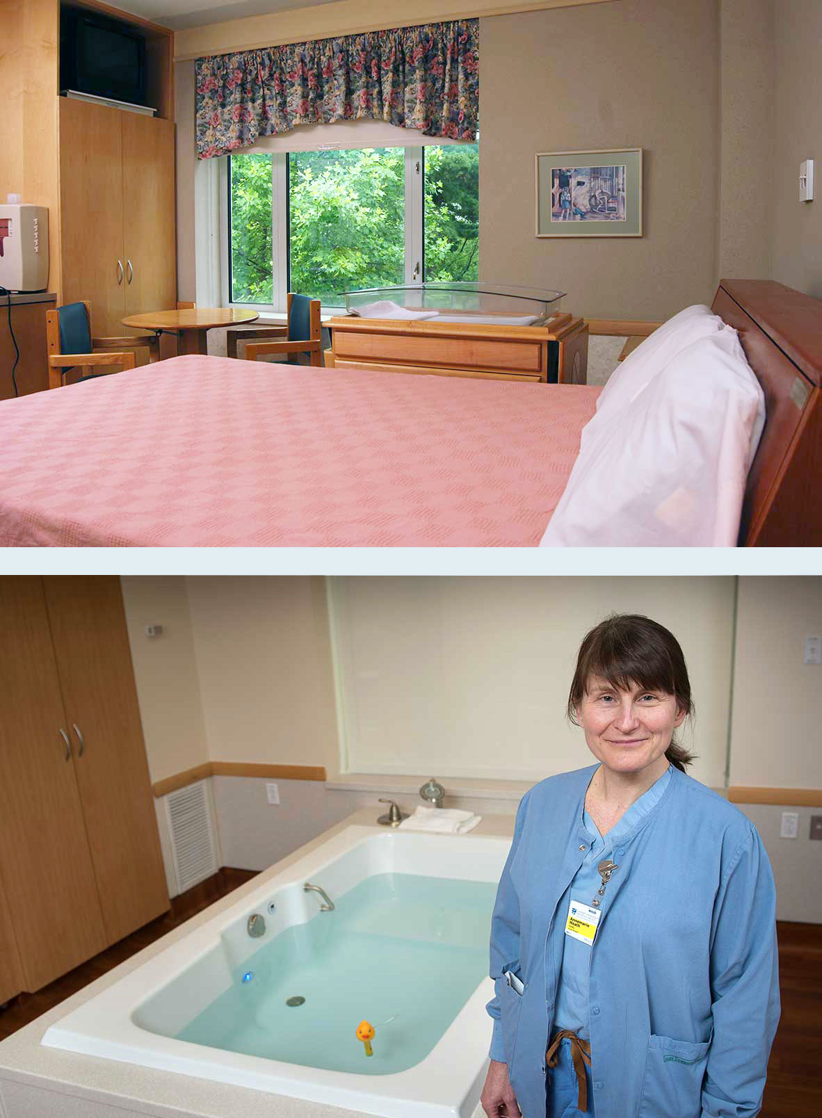 Patient room and Certified Nurse Midwife Annemarie Heath with new hydrotherapy tub in the Childbirth Center at Cooley Dickinson Hospital, 30 Locust Street, Northampton, MA 01060.
