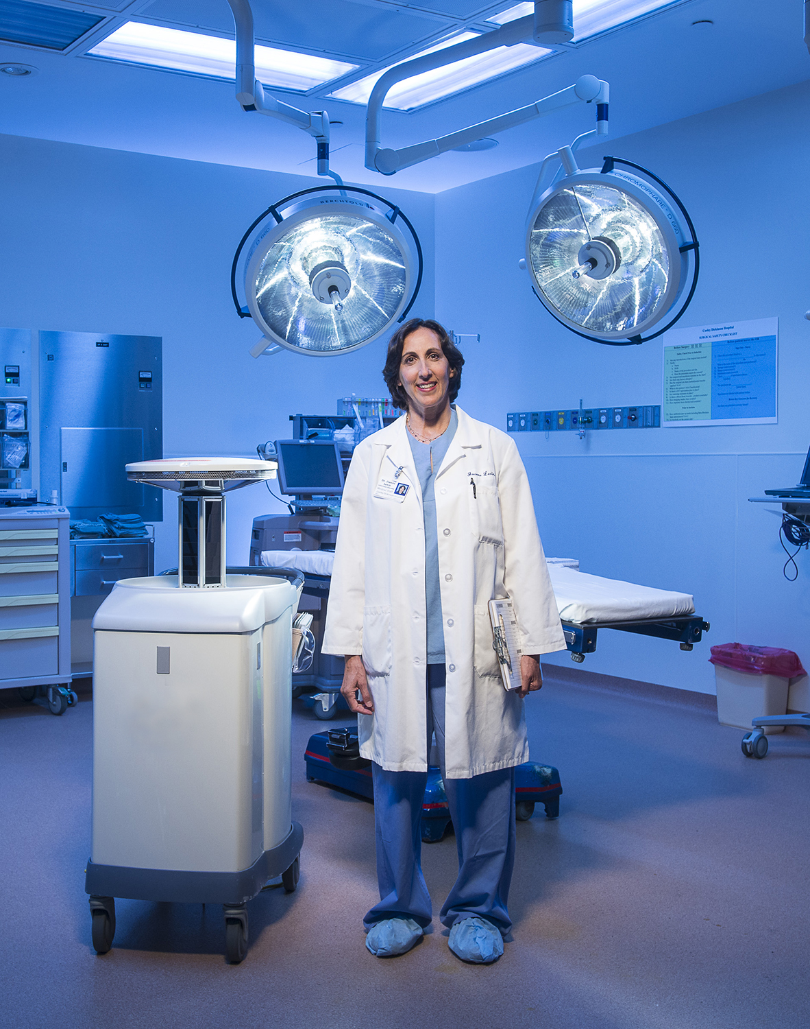 Provider with UV disinfection robot at Cooley Dickinson Hospital, 30 Locust Street, Northampton, MA 01060.