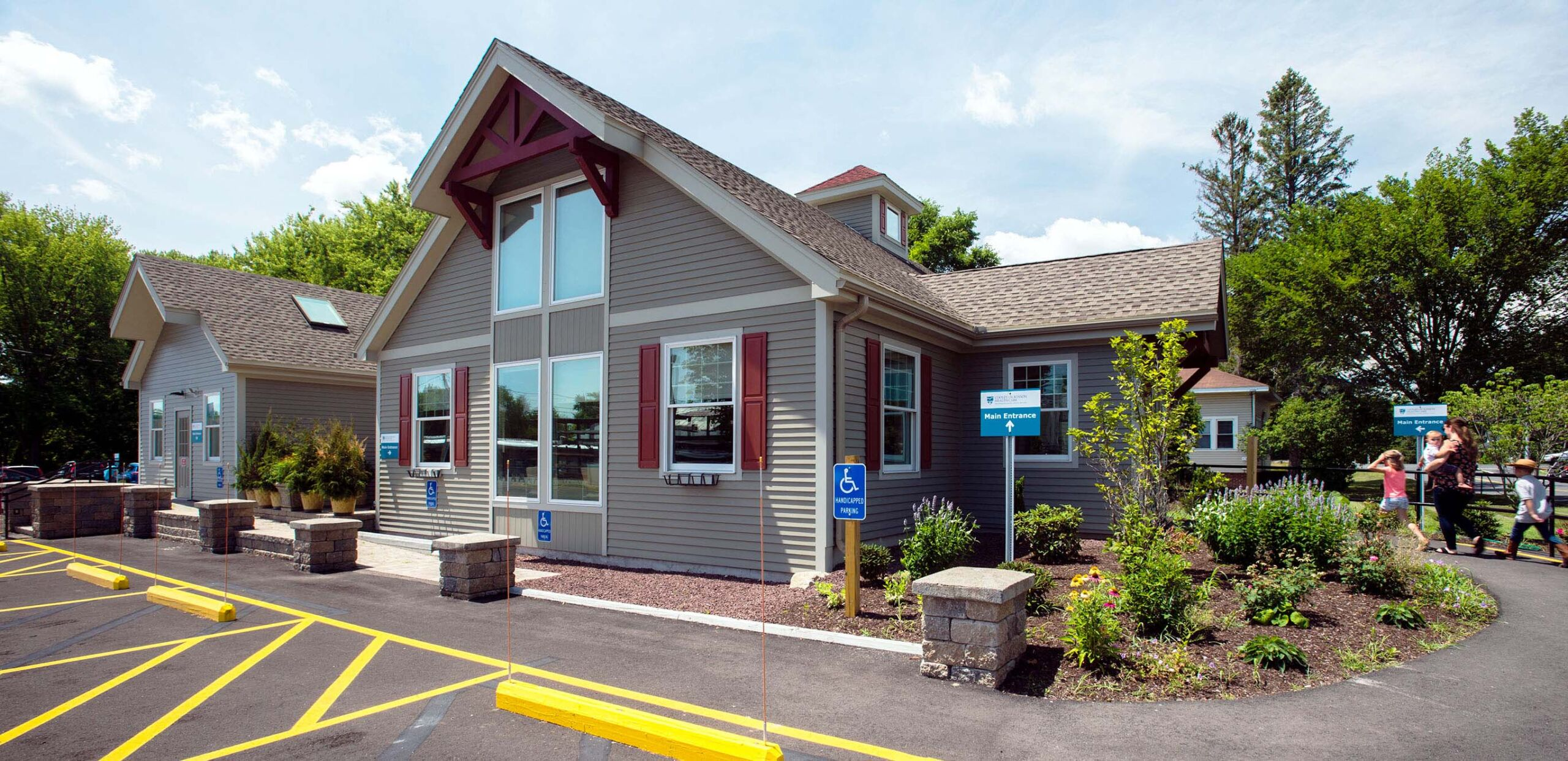 Entrance to South Deerfield Family Medicine and Sugarloaf Pediatrics, 29 Elm Street, South Deerfield, MA 01373.