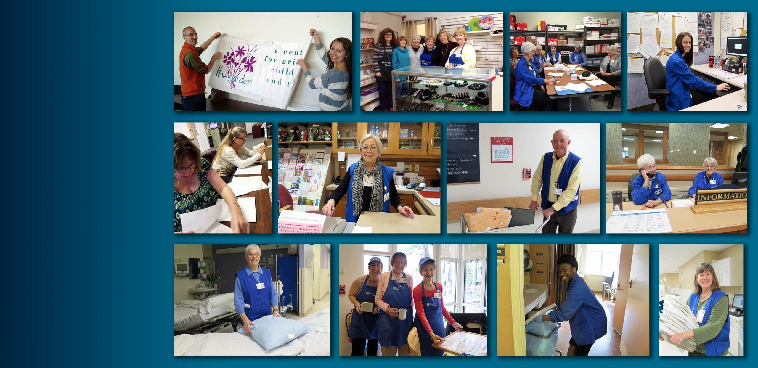 Collage of photos featuring volunteers at Cooley Dickinson Hospital, 30 Locust Street, Northampton, MA 01060.