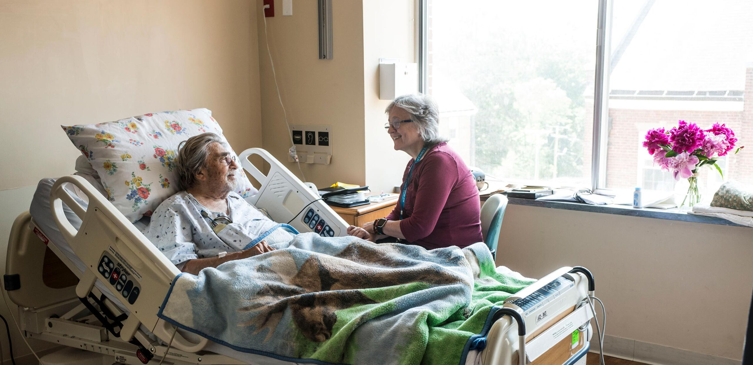 Social worker with patient - Cooley Dickinson Hospital