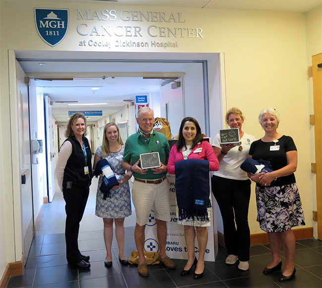 Left to Right: Kelly Noonan, Cancer Center Practice Manager; Lindsay Nason, Campaign Manager, Leukemia & Lymphoma Society; Steve Lewis; Avital Carlis, Cancer Center Administrative Director; Tracy Stearns, Project Manager, Steve Lewis Subaru; Georgia Moore, Cooley Dickinson Director of Leadership Gifts.