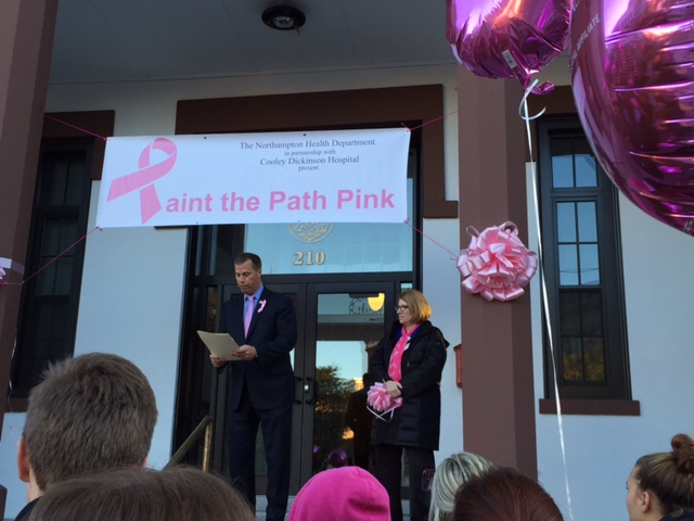 Paint the Path Pink 2015 - Mayor Narkewicz, Northampton City Hall