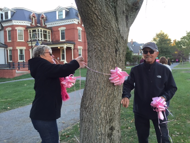 Paint the Path Pink: 2015 - tying pink ribbons onto trees