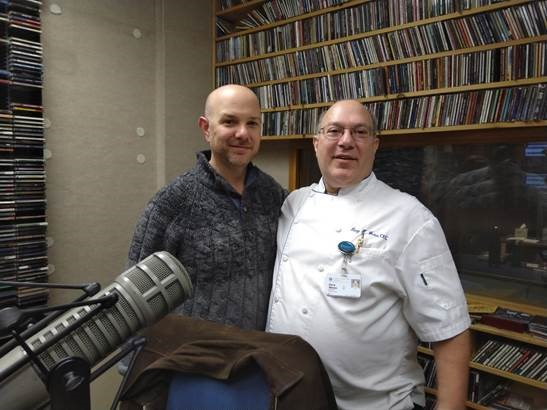 Cooley Dickinson Executive Chef Gary Weiss with 93.9 The River's Monte Belmonte, at thre WRSI studios in Northampton. Gary was interviewed about healthy local food initiatives along with CISA Executive Director Philip Korman.