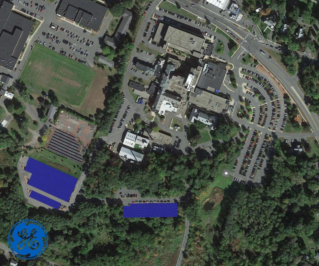 Proposed location of solar canopies, superimposed on an aerial view of the Cooley Dickinson Hospital main campus.